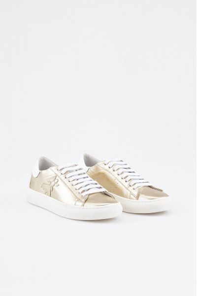 Sneakers in Pelle Laminara Gold