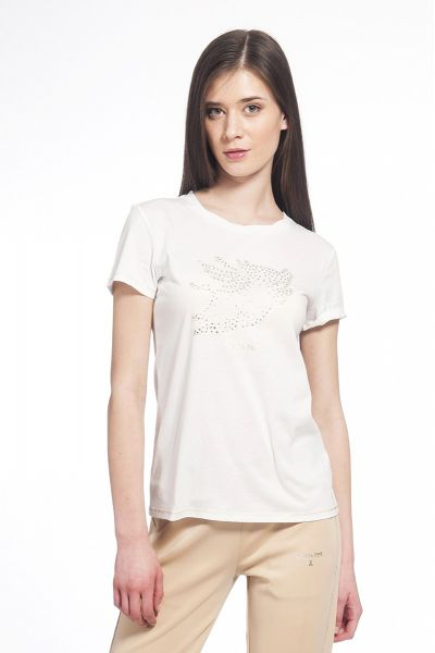 T-Shirt in Cotone con Stampa in Strass