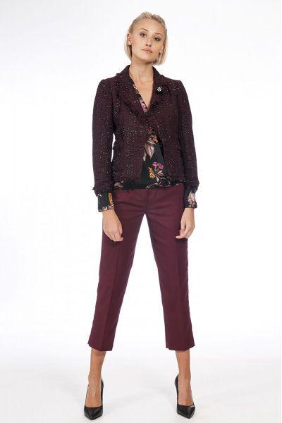 Pantalone Cropped con Perline Rosso