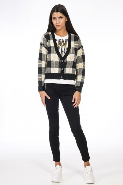Cardigan Cropped Check