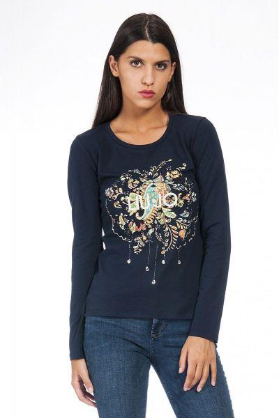 T-shirt Moda Manica Lunga di Liu Jo Blu