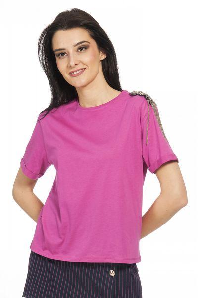 T-shirt Girocollo con Spilla di Patrizia Pepe