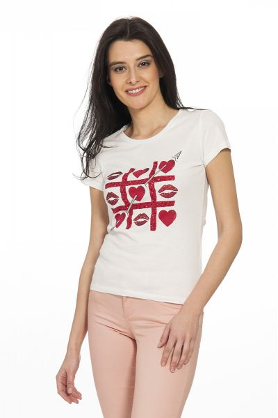 T-shirt Arrow Hearts di Liu Jo Bianco