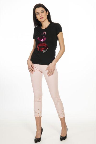 T-Shirt con Logo e Paillettes