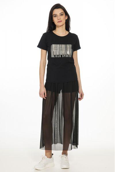 T-shirt con Applicazioni di Lio Jo Nera