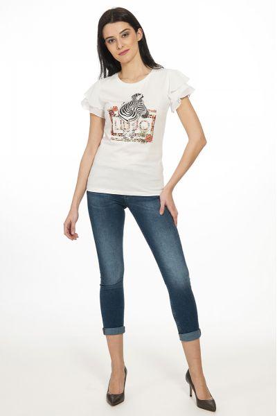 T-shirt con Volant di Liu Jo Bianca
