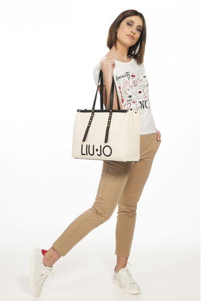 Shopping Bag L Tote con Logo di Liu Jo Canvas