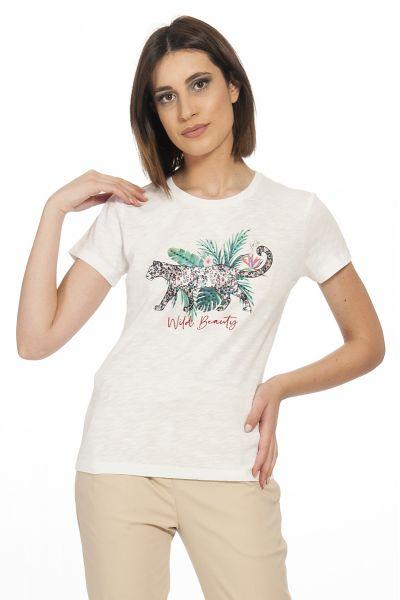 T-shirt con Stampa e Applicazioni di Liu Jo
