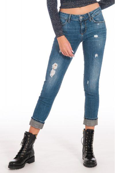 Jeans Bottom Up Skinny Vita Regolare Risvolto Pric