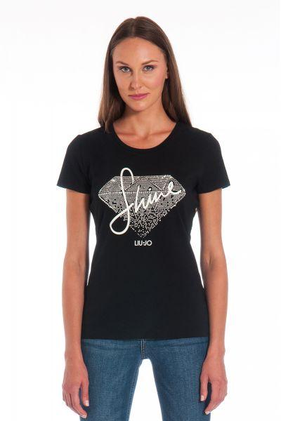 T-Shirt Manica Corta Stampa Diamante di Liu Jo