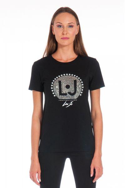 T-Shirt con Applicazioni Strass di Liu Jo