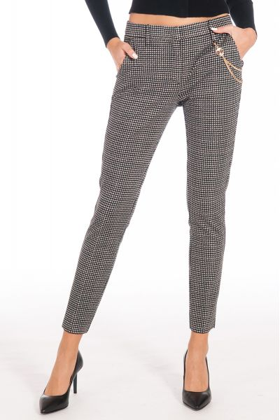 Pantalone in Jacquard di Liu Jo Colore Bianco Nero