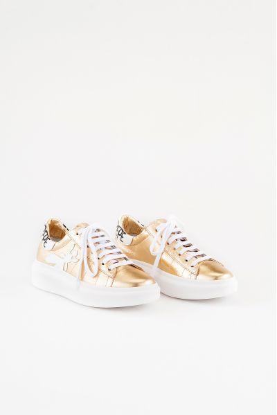Sneakers in Pelle Laminata di Patrizia Pepe Oro