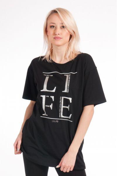 Maxi T-shirt con Glitter di Liu Jo