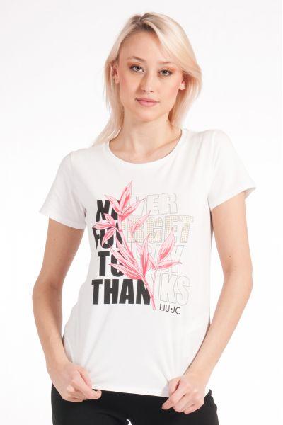 T-shirt con Stampa e Applicazioni di Liu Jo Bianco