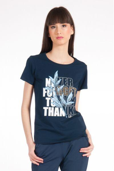 T-shirt con Stampa e Applicazioni di Liu Jo Blu