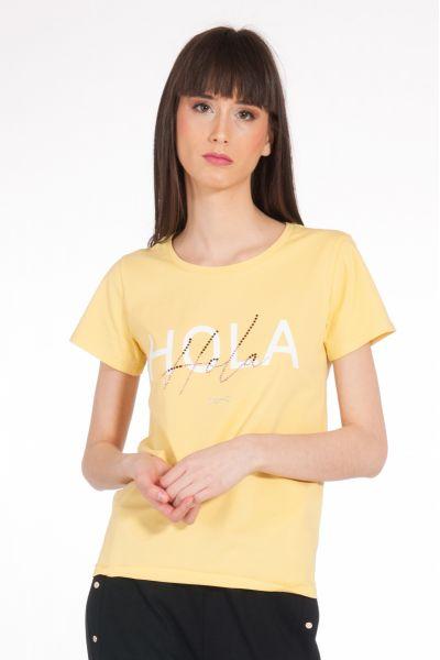 T-shirt con Stampa e Applicazioni di Liu Jo Giallo