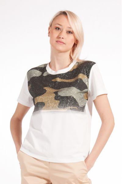 T-shirt con Strass Camouflage di Patrizia Pepe