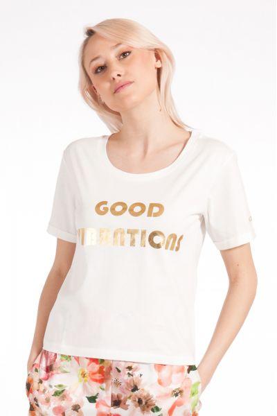 T-shirt con Stampa Laminata di Patrizia Pepe