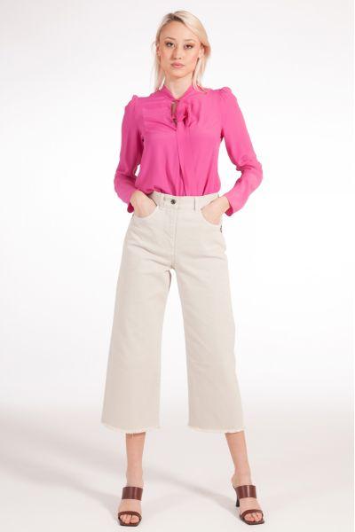 Pantalone Cropped Denim di Patrizia Pepe Beige
