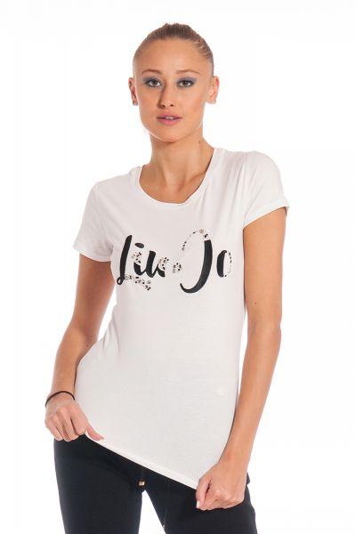 T-shirt con Applicazioni Gioiello di Liu Jo Bianca