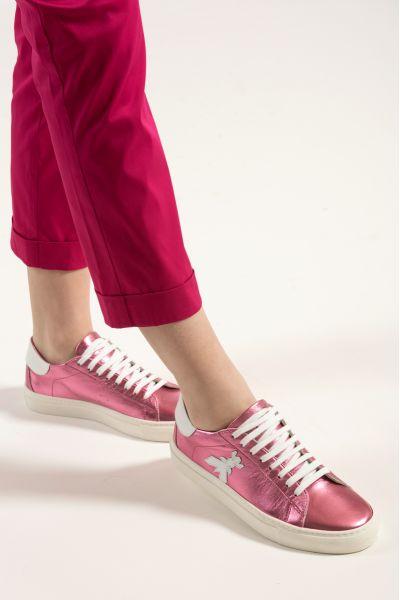 Sneakers in Pelle Laminata di Patrizia Pepe Rosa