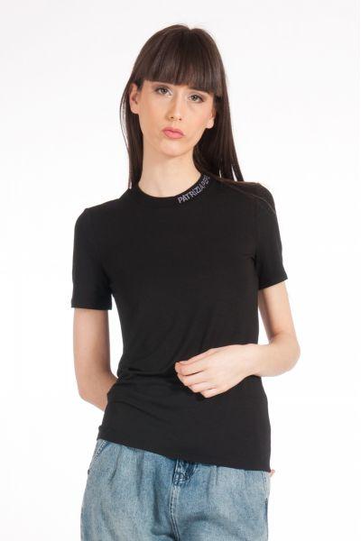 T-shirt con Ricamo su Collo di Patrizia Pepe Nero