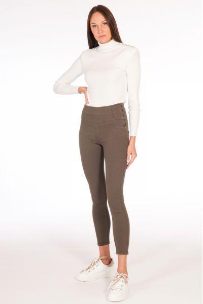 Jeans con Zip di Patrizia Pepe Deep Khaki