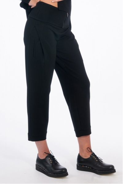 PANTALONE CROPPED IN JERSEY NERO